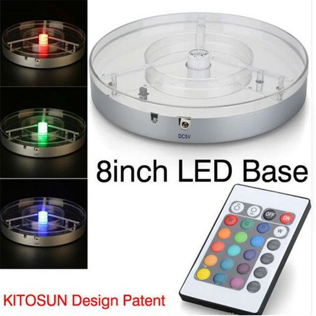 RGBW Rechargeable Battery Operated Mirror Center 8inch Spot LED Light Base for Crystal, Tall Vases, Candelabra Lighting