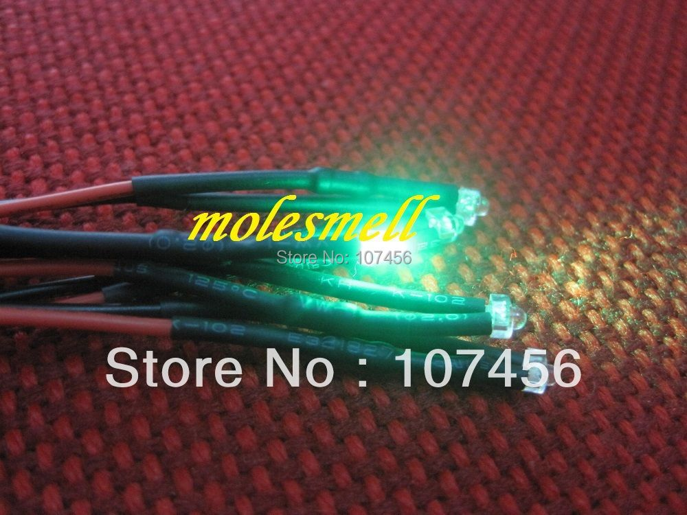 Free shipping 20pcs 1.8mm green LED Lamp Light Set Pre-Wired 1.8mm 5V green 5v DC Wired