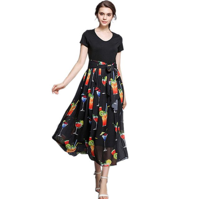 European Fashion Runway Dresses 2018 Women High Quality Short Sleeve Elegant Fruit Print Summer Chiffon Dresses Party Vestidos