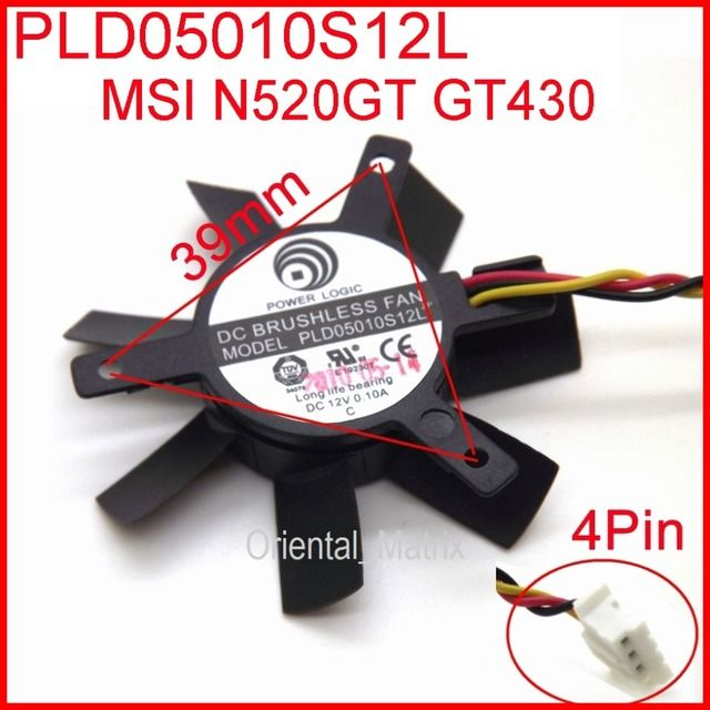 Free Shipping PLD05010S12L DC12V 0.10A 45mm 32x32x32mm 3Wire 4Pin VGA Fan For MSIGT440 N440GT Graphics Card Cooling Fan