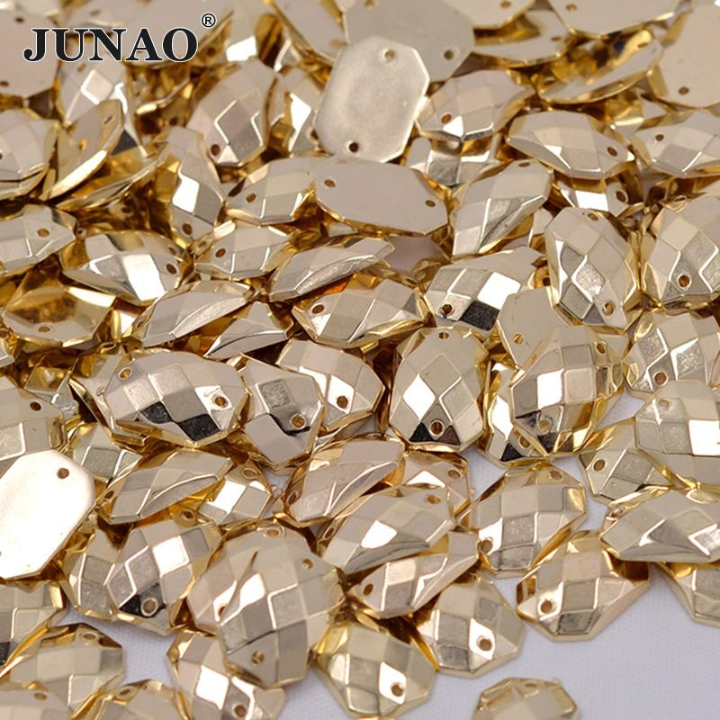 JUNAO 10*14mm Sewing Gold Color Rhinestones Crystal Appliques Sew On Crystal Stones Acrylic Strass For Clothes Apparel Crafts
