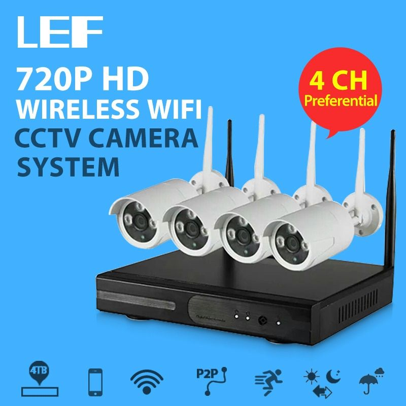 LEF 4CH NVR WIFI CCTV Security Camera System 4PCS 720P HD Outdoor Wireless CCTV Kit Video Surveillance System P2P ONVIF