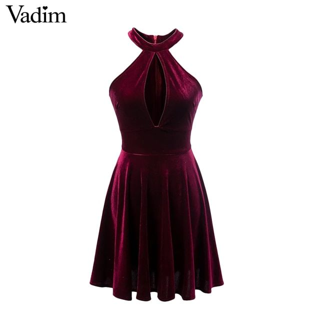Women sexy off shoulder halter cut out velvet dress hollow out sleeveless dresses ladies summer casual brand vestidos QZ2792