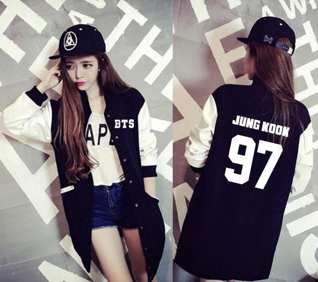 BTS KPOP 2017 spring autumn coat College men women Cotton Letter printed Long section shirt Loose Long sleeve k-pop Bangtan boys
