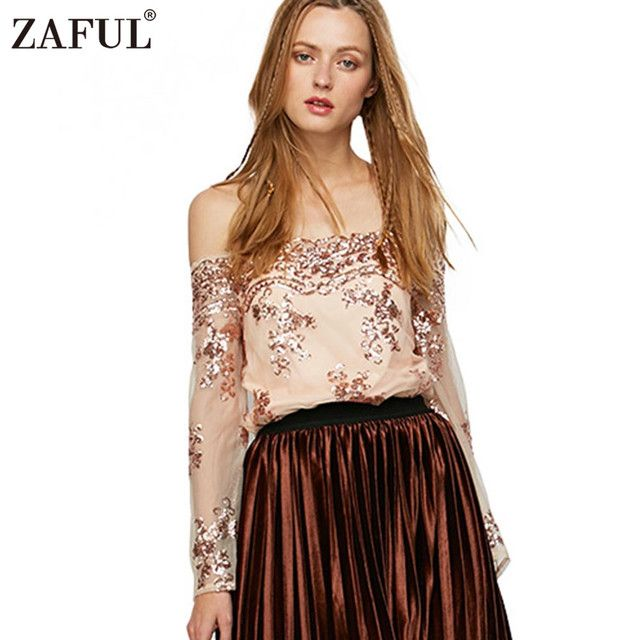 ZAFUL UK New Women Gold Sequins Blouse Vintage Ethnic long sleeve off shoulder Shirts Woman remeras mujer Casual Tops Blusas