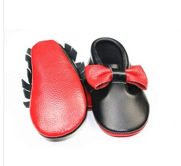 Hot Selling Red bottom Sole Baby Moccasins Genuine Leather Bow Fringe baby boy girls Shoes Newborn Infant Moccasins First Walker