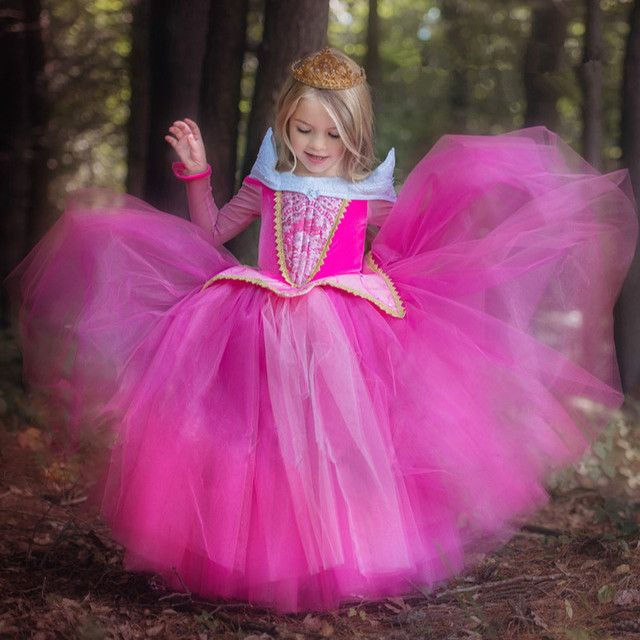 NEW!Princess Sleeping Beauty Aurora Girl Dress Kids Cosplay Dress Up Halloween Costumes For Kids Girls Tulle Party Dress