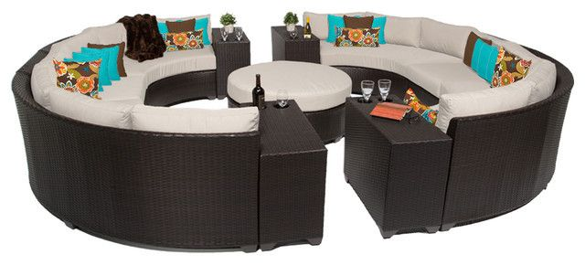 Garden Feeling 11 Piece Outdoor Wicker Patio Furniture Round Sofa Set