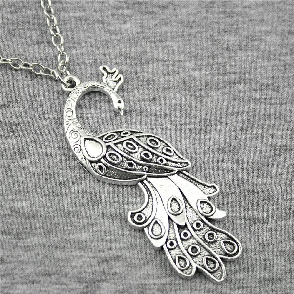 WYSIWYG 2 Colors Antique Silver, Antique Bronze Color 61x21mm Peacock Pendant Necklace, 70Cm Chain Long Necklace Dropshipping