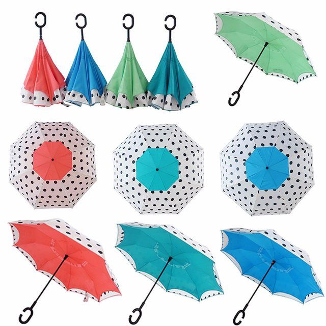 Upside Down Double Layer Inverted Umbrella Reverse Dots Design Umbrella Windproof C Shape Handle Self Standing Fashion