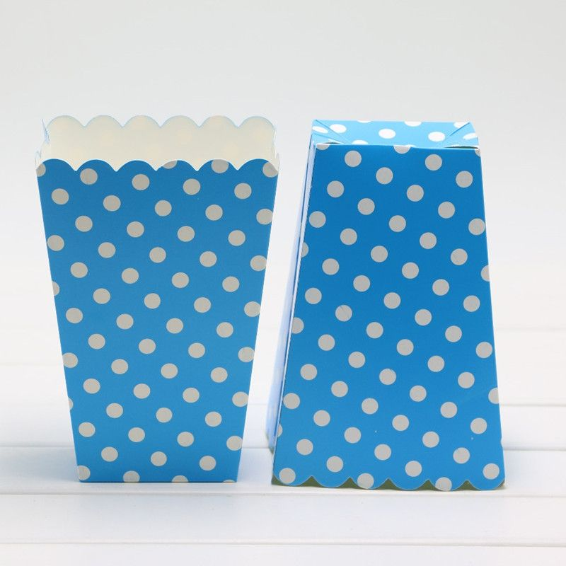 Popcorn boxes 10pcs/lot polka dot striped bags kids party treat candy boxes loot bag wedding birthday decorations popcorn box