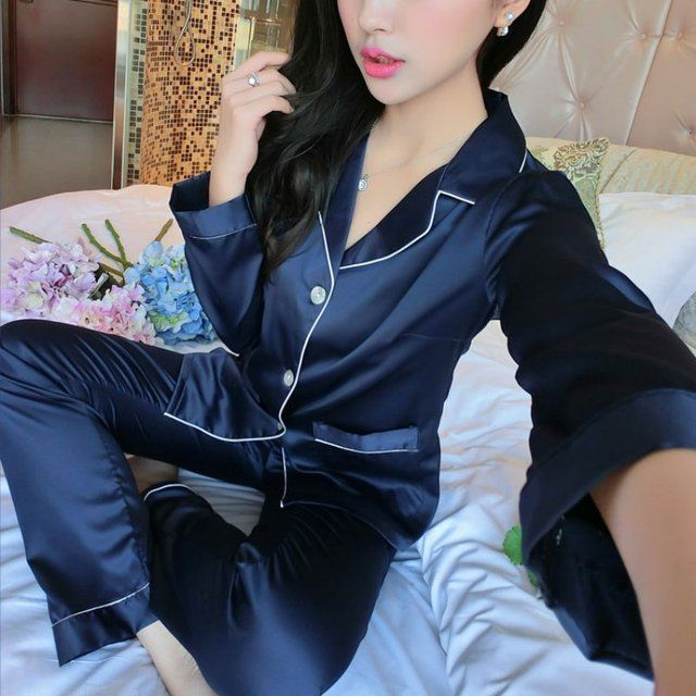 2017 Fashion Women Silk Satin Nightgowns Sets Couples Long Sleeve Sleepwear Homewear