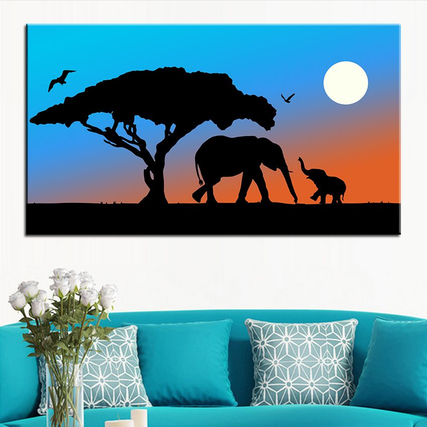 Large size Printing Oil Painting mother and baby elephant Wall painting Decor Wall Art Picture For Living Room painting No Frame