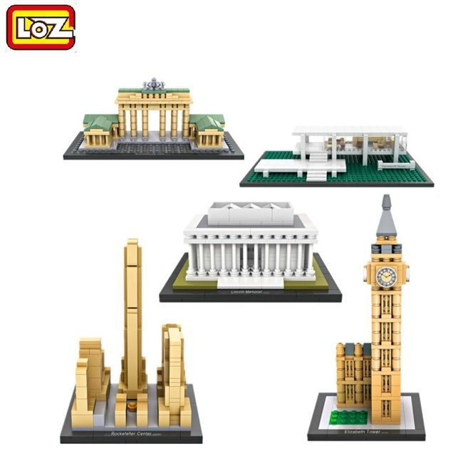 2016 new LOZ Diamond Blocks Architecture DIY Building Toy Elizabeth Tower Juguetes Lincoln Memorial Kids Gift 1003-1011-1012