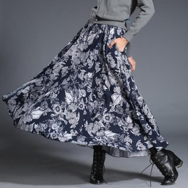 Custom Made Luxury Autumn And Winter Woman Long Skirts Bohemian Long Thick Skirt Plus Size Printed Knit Skirt