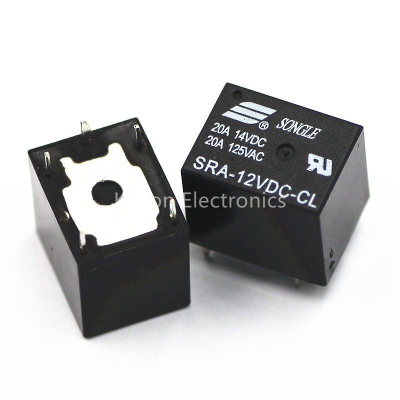 2Pcs SRA-12VDC-CL 5 Pins RELAY 12V 20A for DC Coil Power