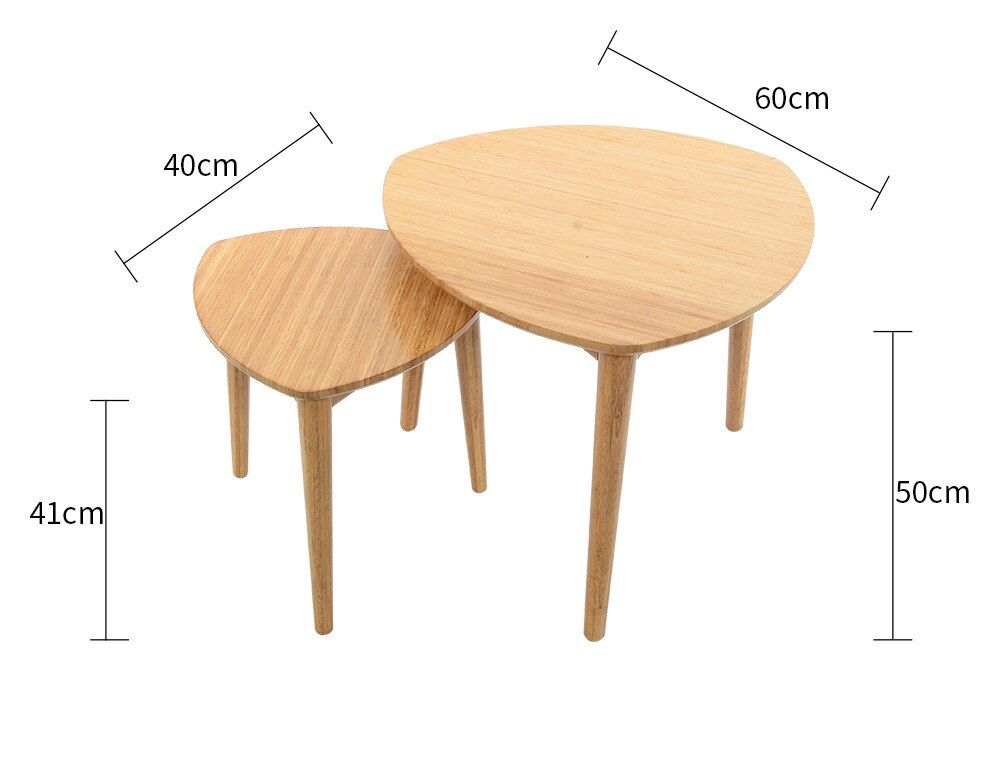 Eco-friendly Bamboo Creative Heart-shaped Coffee Table Living room round tea table Side tables