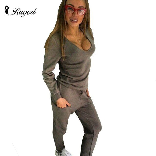 Rugod 2017 New Spring Sexy V Neck Tracksuit Women's 2 two Piece Set Sweater top+ Pants Knitted Suit Solid Twinset In Stock Now