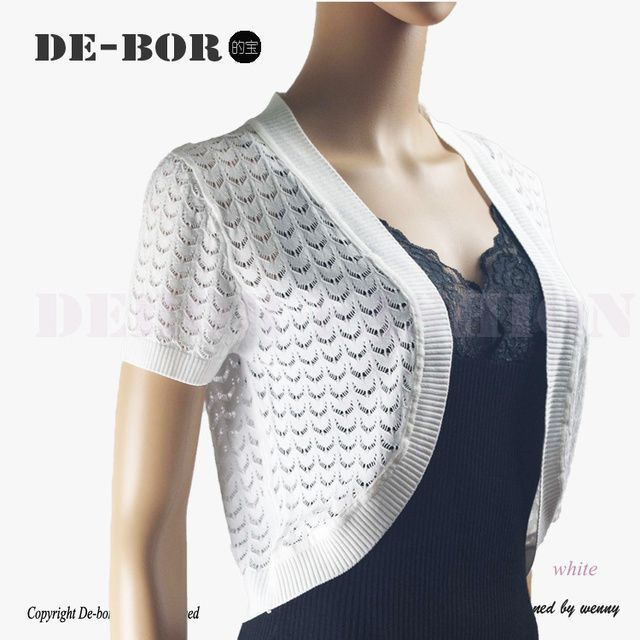 Women's New Summer Short Sleeves Cardigan Coat Cotton Knitted Mesh Thin Short Shrug Geometric Crop Top Lady's Casual Top