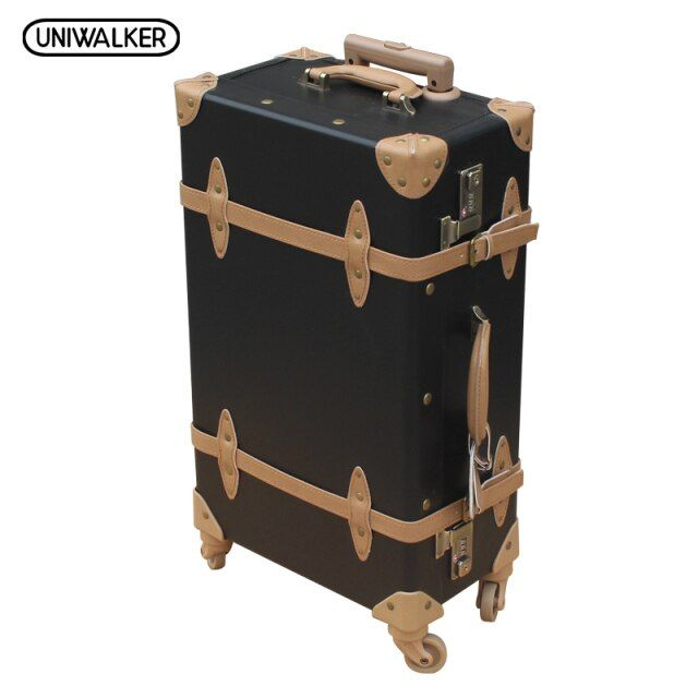 "22"" 24"" 26"" inches Vintage Luggage,TSA Lock Suitcase,Universal Wheels Trolley,PU Leather, Handle of Rod is External"