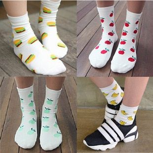 Wholesale Lovely cotton Sock for women cute Fruit design socks cotton thermal warm casual socks 20pieces=10pairs/lot GW-18