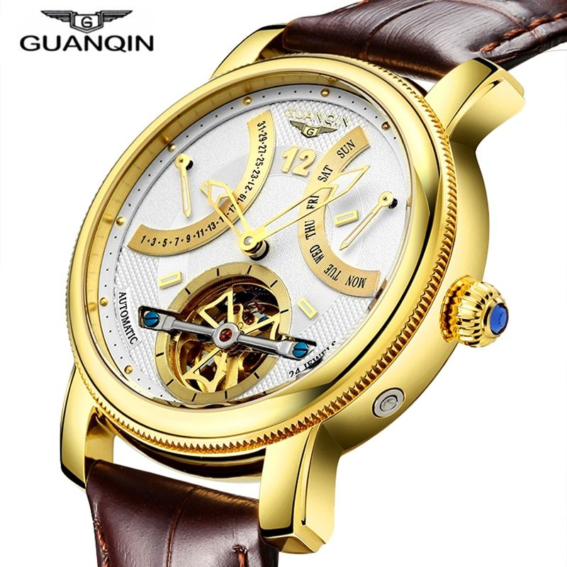 GUANQIN Design Watches Men Top Brand Luxury Watch Fashion Casual Automatic mechanical Watch Clocks Reloj Relogio masculino
