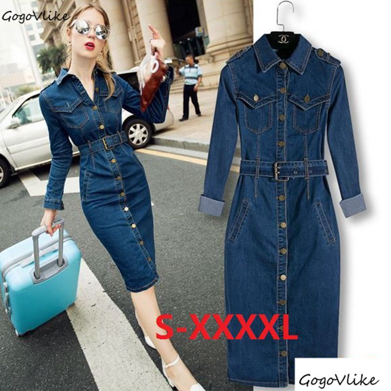 5XL 4XL Maxi Jeans Pencil Dress 2018 Women Denim Long Vestidos One-piece Cowboy Dress With Belt Women Blue Cotton Clothing S10