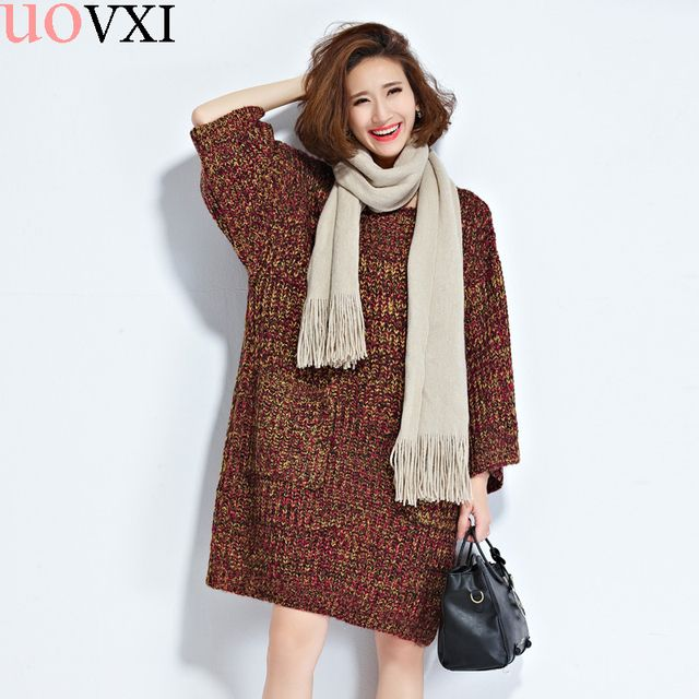 Big Size Women Knitting Sweaters Cotton Fashion Loose Autumn Casual Sweater Thickening Warm Striped O-Neck Female Pullover