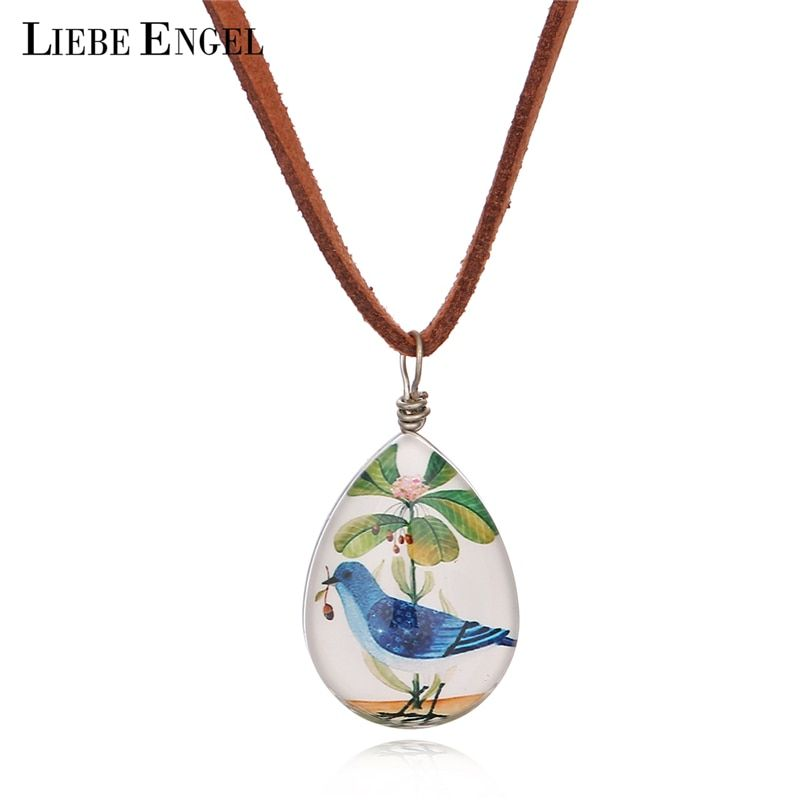 LIEBE ENGEL Fashion Suede Leather Chain Teardrop-shaped Bird Picture Double Sided Glass Cabochon Pendant Necklace Maxi Jewelry