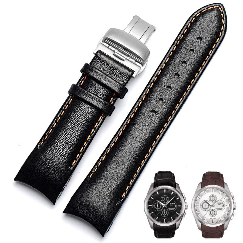 Black/ Brown 22 23 24mm Genuine Cowhide Watchband Vintage Leather Watch Strap 1853 T035627A/407/617 For Men And Women