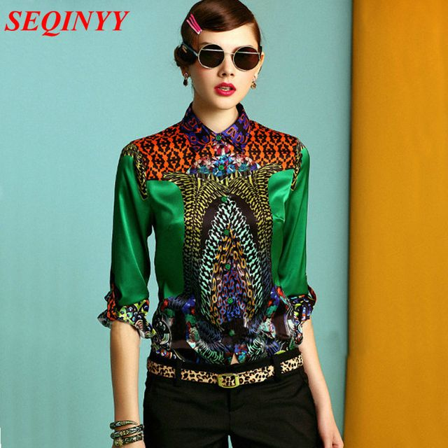 2015  Women's Shirt Full Sleeves Digital Print Green & High Qulity Blouse Plus Size XXL