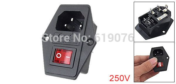 3 Pin IEC320 C14 Inlet Module Plug Fuse Switch Male Power Socket 10A 250V red