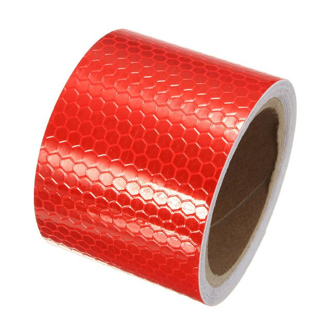"High Quality 2""X10' 3 Meters White red Reflective Safety Warning Conspicuity Tape Film Sticker New Arrival"