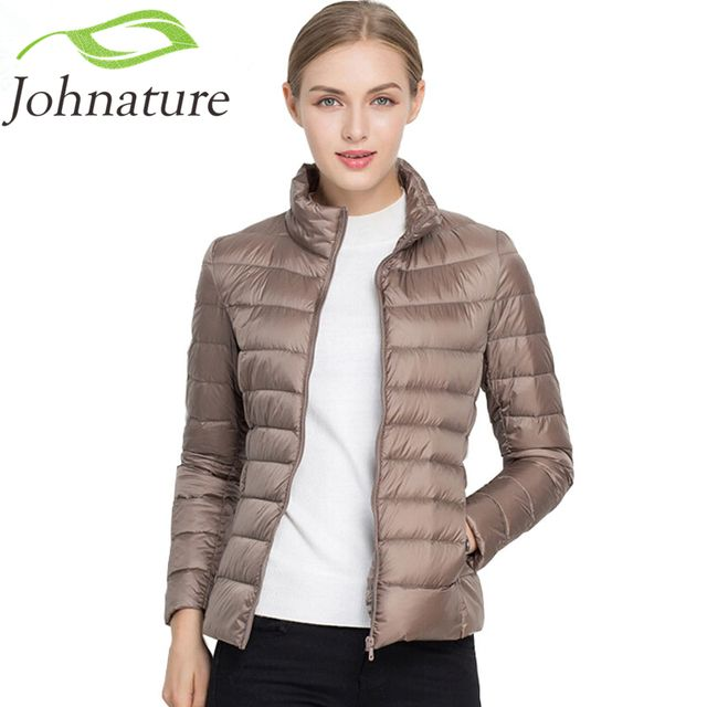 Johnature 2018 New Women Coat Autumn Winter 90% White Duck Down Jacket  16 Colors Warm Slim Zipper Fashion Light Down Coat S-3XL