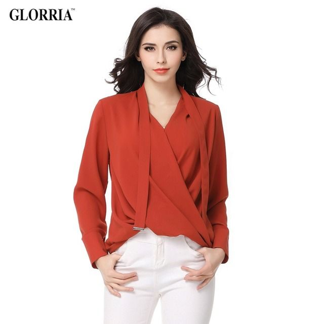 Women Office Ruched Ties Plus Size Blouses Spring Summer Style Chiffon Thin Tops Female Fashion V-Neck Long Sleeve Brown Shirts