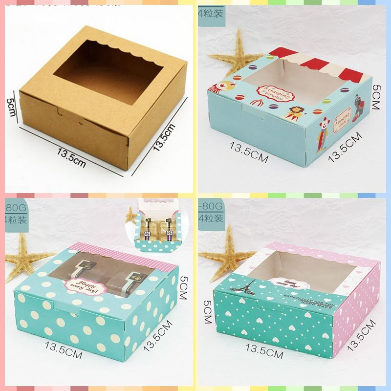 13.5*13.5*5cm Packaging Paper Box with Clear Window Gift Box Packaging For Sweets Cookie Box Wedding Candy Box Party Supplies