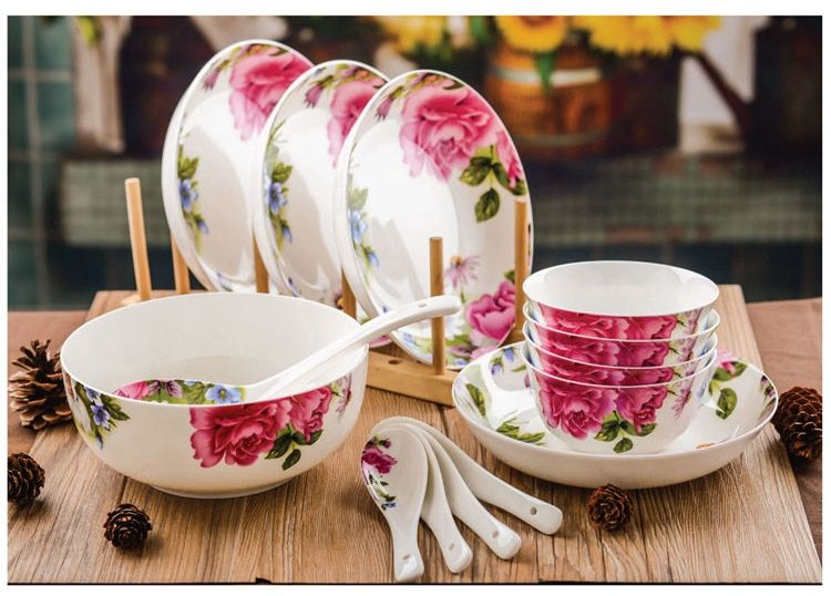 14-piece set, real bone china dinnerware set, floral painting, ceramic  food box best lunch container, porcelain dinner plates