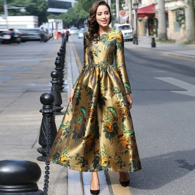 XXXL!New British Style 2017 Spring Long Plus Size Dress Women Runway Print Long Sleeve Ball Gown Party Evening Maxi Dress Big