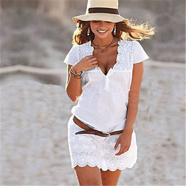 2017 New Sexy Women Dress Short Sleeve Slim Lace Mini Dress V Neck Solid High Waist Short Mini Dress with Belt W03