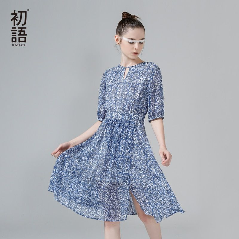 Toyouth 2017 Summer New Arrival Women Dresses O-Neck Collar  Floral Prints Fashion Knee-Length A-Line Lady Dresses