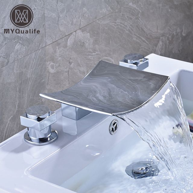 Polished Chrome Wide Waterfall Spout Bathroom Tub Mixer Faucet Dual Handle Widespread Basin Sink Hot and Cold Taps