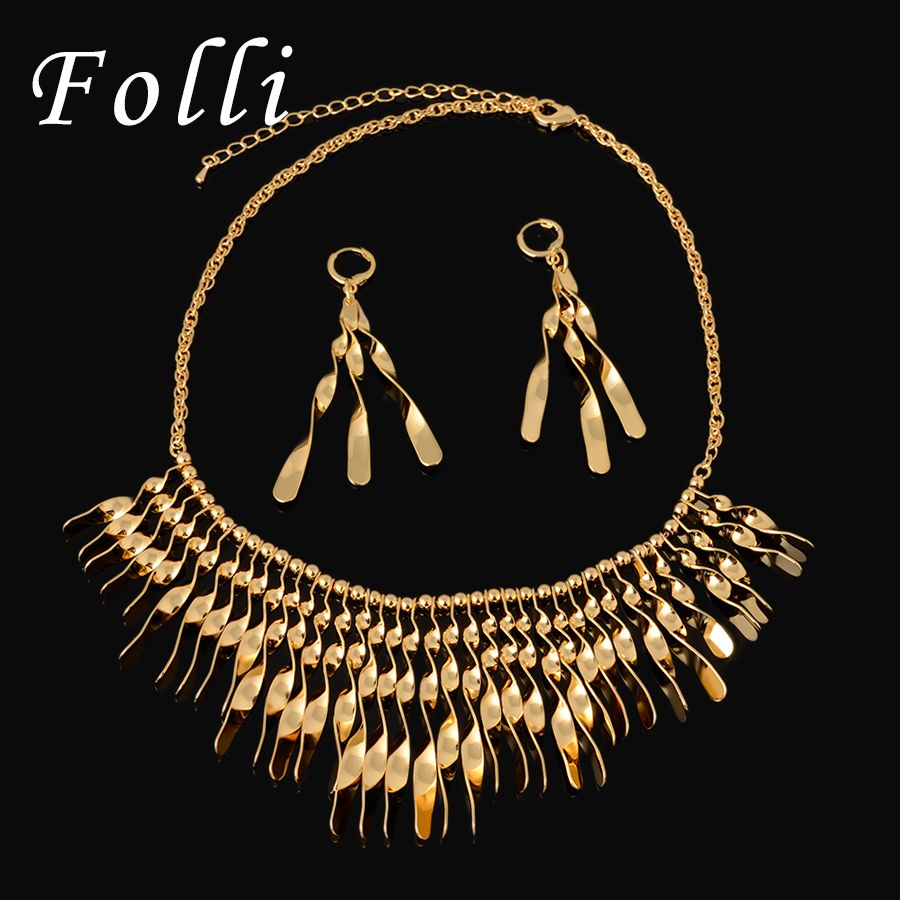 Fashion Runway Show Floating Earring  Necklace Set High Fashion Brand Jewelry Set Italy 750 Gold Color Quality For Women
