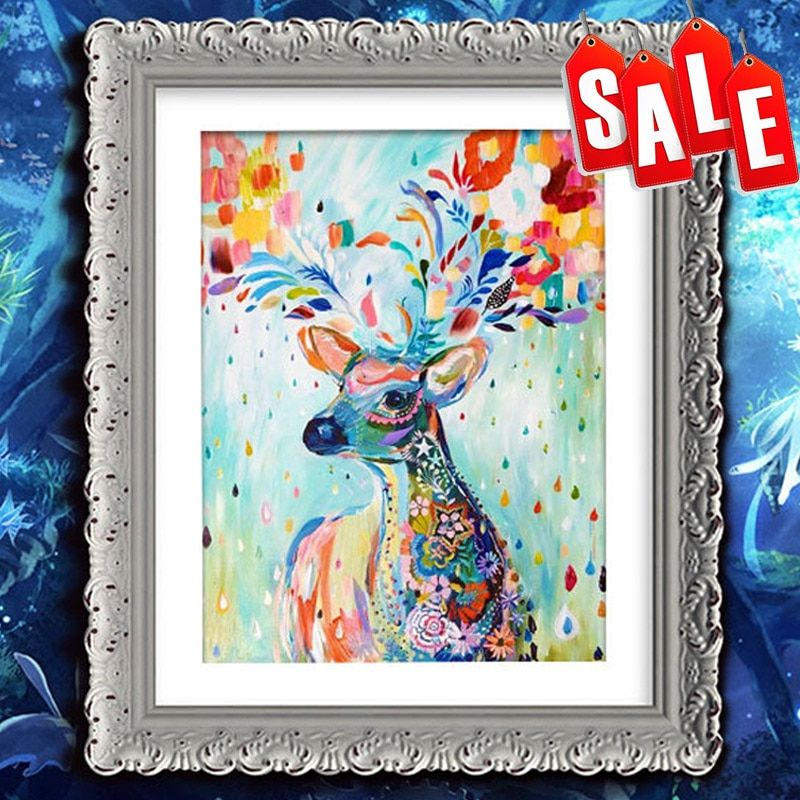printed on canvas cross stitch animals 5d diamond embroidery deer elk diy diamond painting cartoon picture rhinestones mosaic