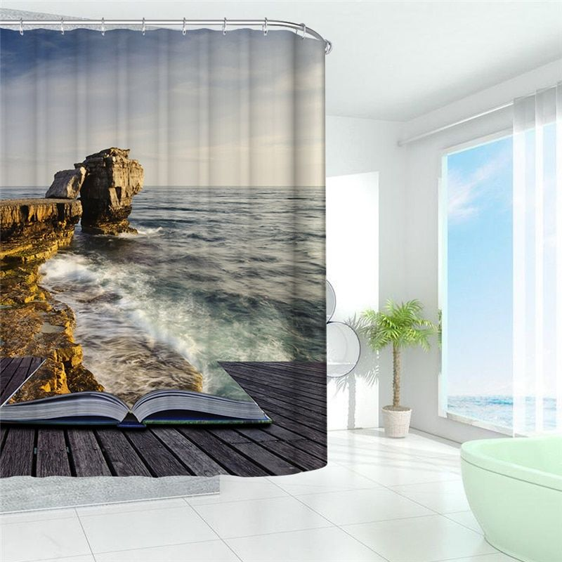 Waterproof Shower Curtain 3D Sea Scenery Landscape Bath Curtain for Bathroom Decoration With Hooks