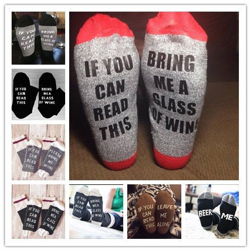 2016 new  If You can read this sock Bring Me a Glass of Wine Socks women men casual letter winter  happy christmas socks 2pairs