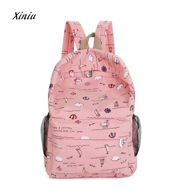 Women Backpack 2018  Hot Sale Causal High Quality  Fashion Cartoon Printing Women Canvas Backpack Schoolbag free ship