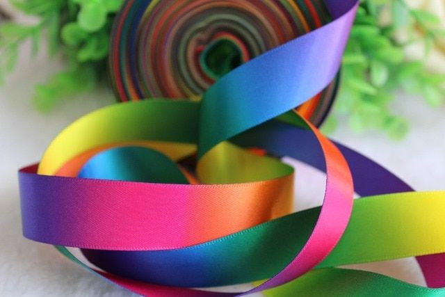 ePacket 19mm 20 yards double faced colorful rainbow satin ribbon decorative accessories