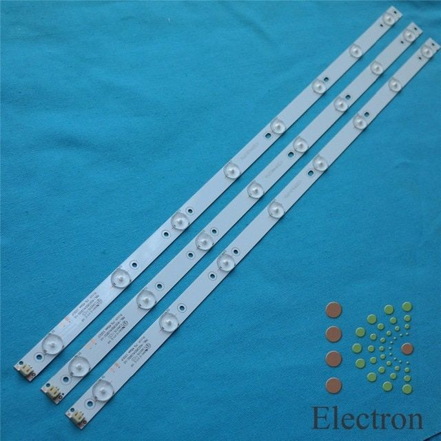 613mm*17mm 8leds 2pin TV Panel Backlight Lamps LED Strips w/ Optical Lens 32'' LCD TV Screen Fliter New 2pcs
