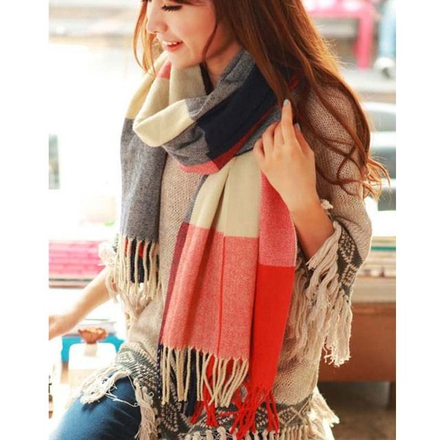 190*50cm Autumn Winter Female Wool Plaid Scarf Women Cashmere Scarves Wide Lattice Long Shawl Wrap Blanket Warm Tippet Drop Ship