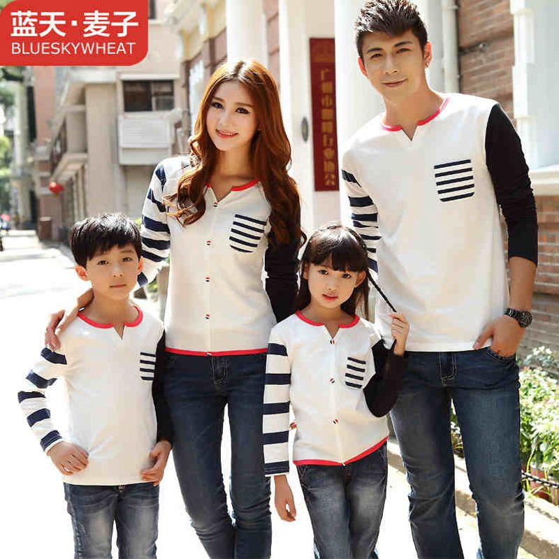 Matching Family Clothing Long Sleeve Shirt 2016 Spring Autumn Family Look Matching Mother Daughter Father Son Striped Sweater
